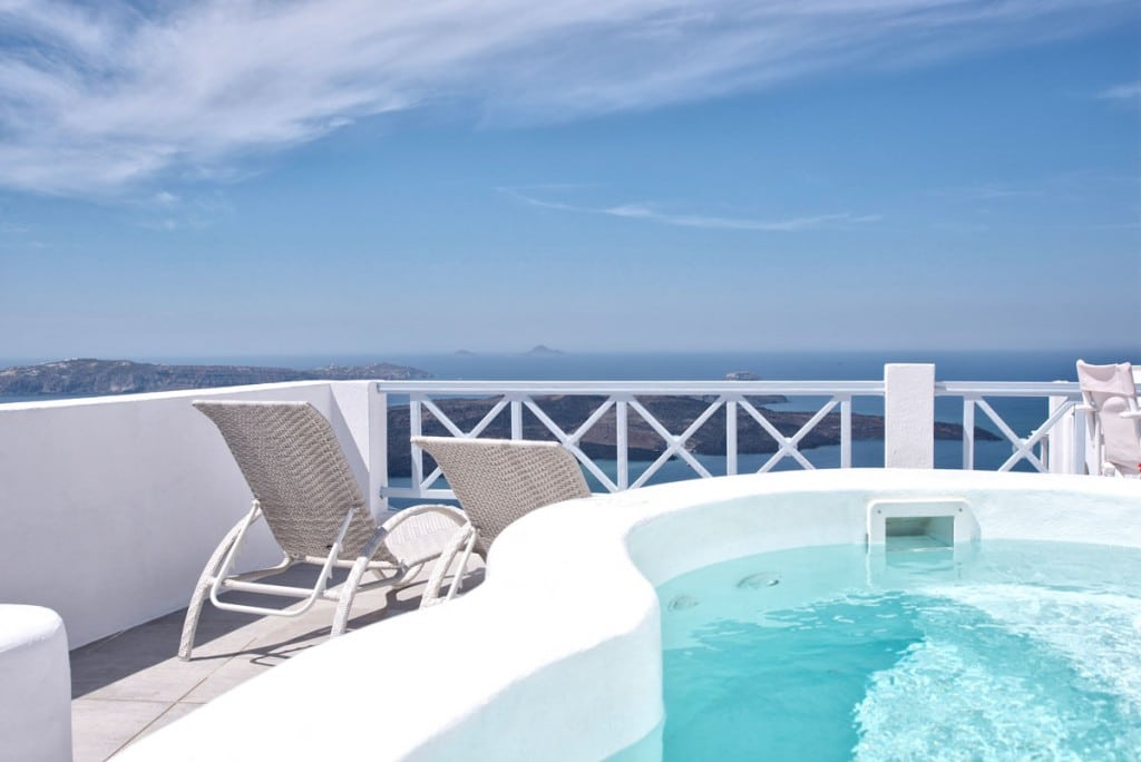 View | Honeymoon Jacuzzi Suite Private Balcony  | Firostefani