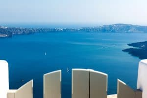 santorini luxury villa outdoor view caldera